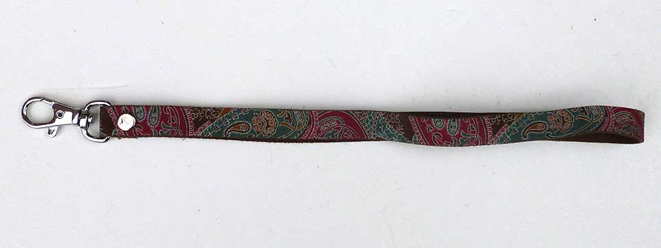 Brown Paisley  Suede Wrist Strap